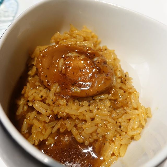 Abalone with truffle rice.