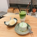 Matcha Latte And Cake