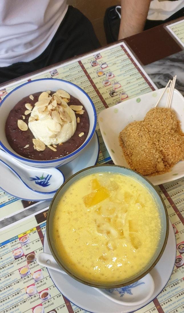 Mango Sago, Putu Hitum With Ice Cream And Tangyuan
