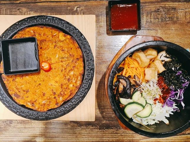Kimchi Pancake And Bibimbap