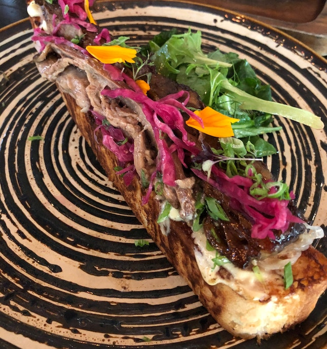 Open-faced Pulled Beef Sandwich