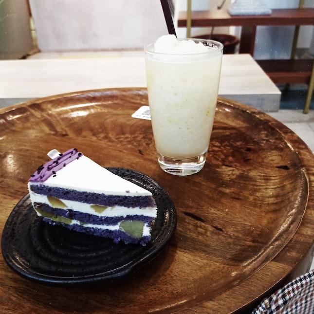 Sweet Potato Cake And Yuzu Drink