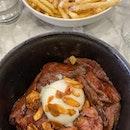 Beef steak don ($17.50++) & truffle fries ($8.5++)