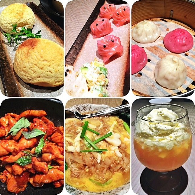 "Snow Bun 雪山包, Pac Man Dumpling 西川虾饺, Shanghai Dumpling 上海小笼包, Drunken Chicken 台式三杯鸡, ""What Tan Hor"" 海鲜骨蛋河, Sago Mango Pomelo  扬枝甘露 #chinese #food #foodporn #instafood"