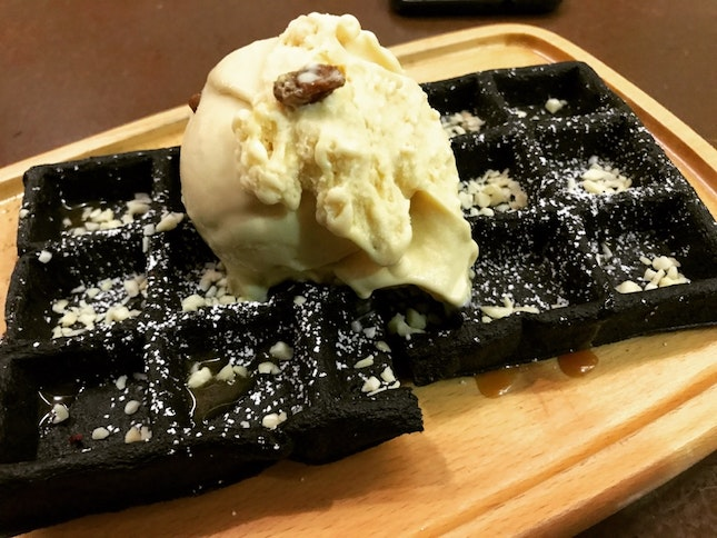 Charcoal Waffles With Rum & Raisins [$13.80]