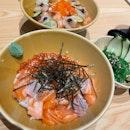 Salmon Ikura Don & Aburi Scallop Salmon Don
