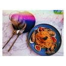 Chilli Crab Pasta And Banana Frappuccino