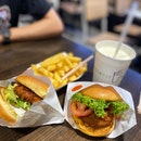 Chicken Burger, Shrooms Burger, Cheese Fries, Vanilla Shake