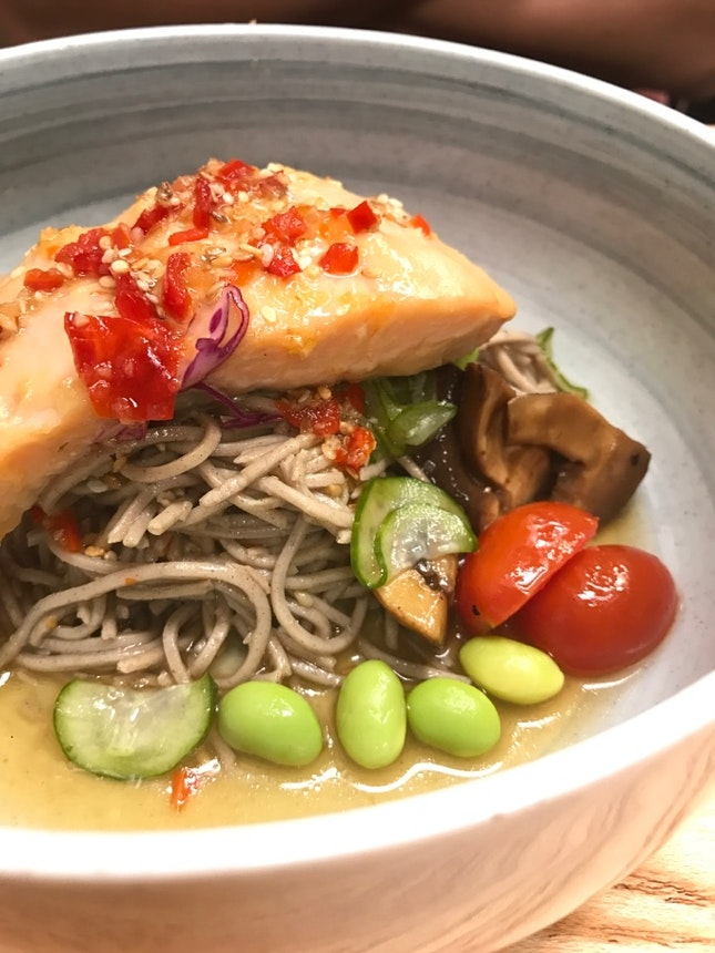 Salmon Soba, Robust Coffee With Smokey Flavour