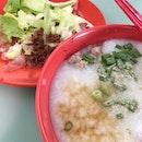 Porridge with raw fish.