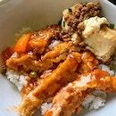 Hainanese Pork Chop and Minced Meat Tofu.