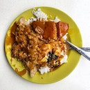 Hainanese Curry Rice with Luncheon meat, braised cabbage, runny egg  _ One messy goodness.