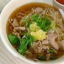 Thick Rice Vermicelli with Beef slices broth  _ Fresh beef slices cooked kn beef broth with deep flavour.
