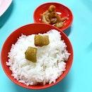 猪油捞飯 - 偷懒 Pork lard with rice  _ In olden days, pork lard was churned out from pork fats and used as cooking oil.