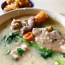 Mixed Pork porridge with watercress  _ Liver, intestines, meatballs, century egg, watercress & Fried fritters in a bowl of steamy hot porridge  _ Comfort food in a bowl.