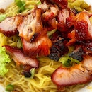 Charcoal roasted Char Siu with egg noodles  _ Charred, fatty Char Siu roasted to perfection paired with egg noodle cooked to perfection.