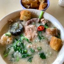Mixed meat porridge  _ Small intestine, Liver, meatballs, century egg, watercress & fried fritters  _ Simple and wholesome  _ #sqtop_hawkerfood  #FoodinSingapore  #WhatMakesSG  #OurHawkerCulture  #OurSGHeritage  #uncagestreetfood #jiaklocal #jiaklocalsg  #PassionMadePossible #STFoodTrending  #SGCuisine  #wheretoeatsg #eatmoresg  #burpple #burpplesg  #burpplebeyond