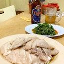 Steamed chicken, claypot tofu, Sambal Kangkong.