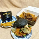 Another Care Pack from Wok in Burger @wokinburger  _ Salted Egg Pork Burger in Charcoal Bun.