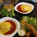 Tomato Omurice Set With Grilled Chicken And Fried Ebi