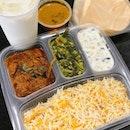 Fiery mutton masala briyani set with luscious lassi drink from @gayatrirestaurant at Telok Ayer.