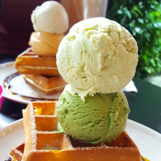 Kaya & Matcha, Earl Grey Lavender Ice Cream Waffles
