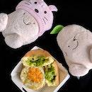 MATCHA PANCAKE and okonomiyaki pancake from @mrbeansg is AMAZING.