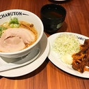 The signature Chabuton Tonkotsu Ramen 拉面😋 Lunch set come with a choice of side, drinks and desert @ $14.50++ .
