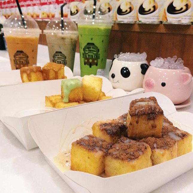 Golden Toast with Thai tea kaya, kaya and condensed milk with Milo dips from Tuk Tuk Cha.