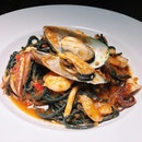 Alla Marinara from Pasta Fresca - prawns, squid and mussels sautéed in white wine and garlic and with added chilli padi.