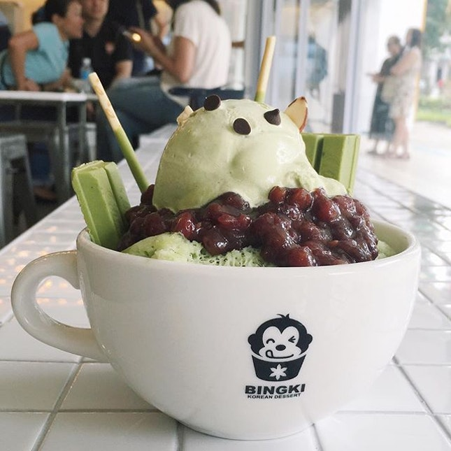 Just thinking about this Green Tea Bingsu I had seven sisterly nuns ago at Bingki Korean Dessert Cafe, opening across from the road from Orchid Hotel at Tanjong Pagar.