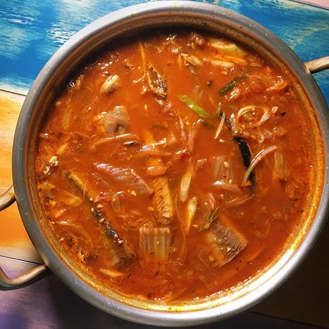 Kimchi Stew with Saury from Oven & Fried Chicken.