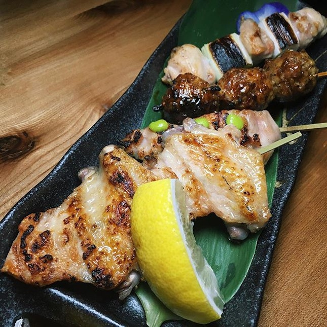 Chicken wing (tebasaki), chicken thigh (kashiwa), chicken meat ball (tsukune) and chicken thigh & leek (negima) from The Wall, a newly-opened Japanese whisky and sumiyaki concept along Tanjong Pagar Road.