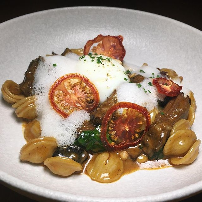 Just thinking about this Hong Shao Beef Ragout Orecchiette (Sichuan-style braised beef short ribs, Parmesan foam, spinach, black fungus, pine nuts, egg confit) that I had forty-one flirty cuckoos ago at Birds of a Feather along Amoy Street.