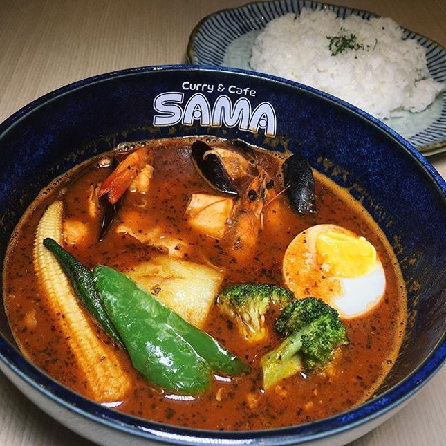 "Just thinking about this oceanically-charged and home-style comforting ""Ocean Trophy"" shrimp-based soup curry that I had fifty-two hungry bear monsters ago at Sama Curry Cafe, a Japanese curry concept newly-open at OUE Downtown Gallery."