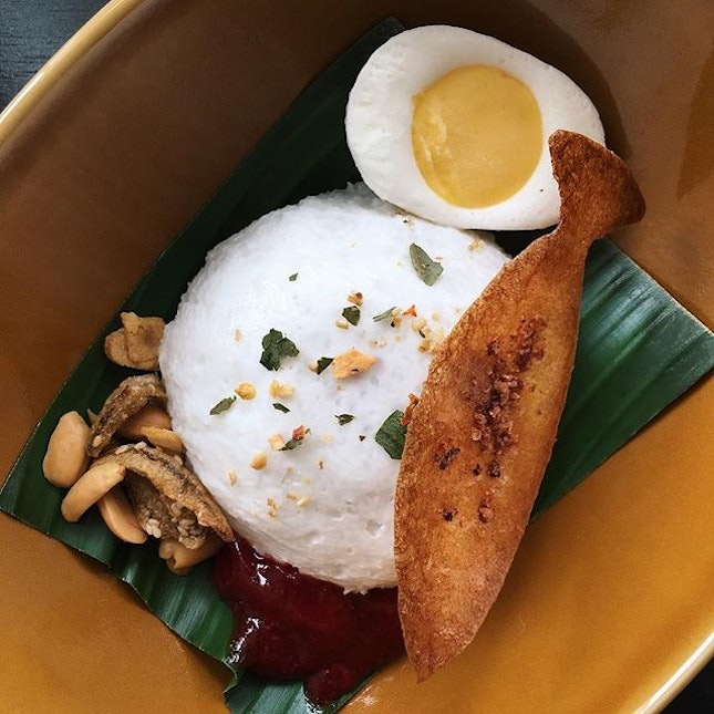 """Just thinking about this Nasi Lemak (coconut """"Nasi"""", pandan mousse, gula melaka sauce, kuning fish tulip, ikan bilis with lightly salted peanuts, yogurt mango hard boiled egg) that I had forty-one bubor chachas ago at Non Entrée Desserts, which launches this quirky, partially savoury dessert in time for National Day."""