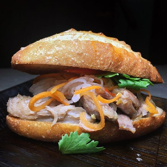 Just thinking about this Duck Banh Mi, Liver Pate, Sriracha that I had thirty-one medicinal remedies ago at Butcher Boy, the new Asian-inspired bar and grill launching this week from the folks behind Cure.