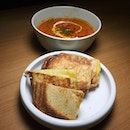 The Early Fatback: Chorizo and Tomato Soup with Grilled Cheese Brioche from VXX Cooperative.
