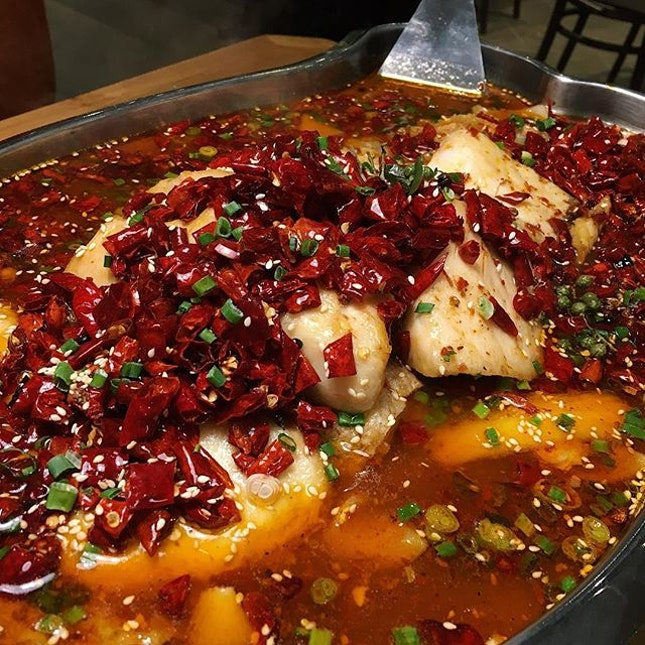 The Early Fatback: Cod in Mala Base from Sichuan Kungfu Fish Singapore, newly open at Suntec City.