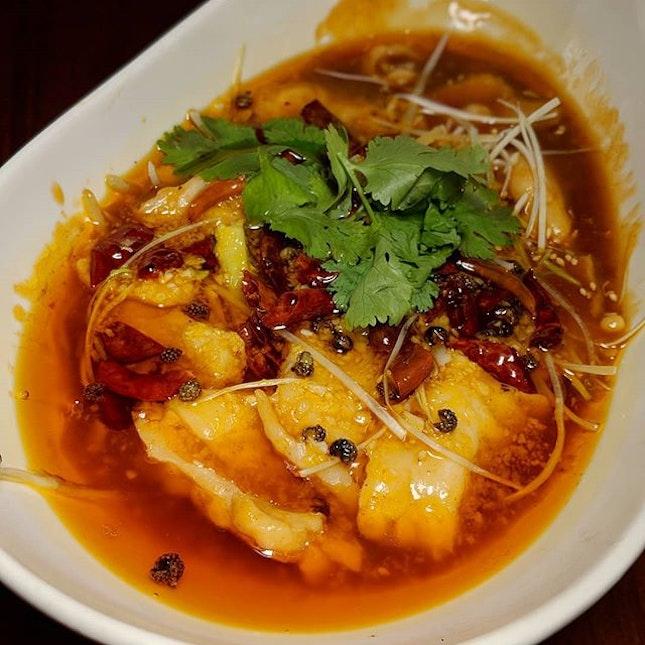 The Early Fatback: Boiled Fish in Chilli Oil from Szechuan Court (@szc.sg), Fairmont Singapore (@fairmontsingapore).
