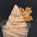 Apple Cinnamon Soft Serve, a limited item available at Matchaya's Icon Village outlet (@matchayasg).
