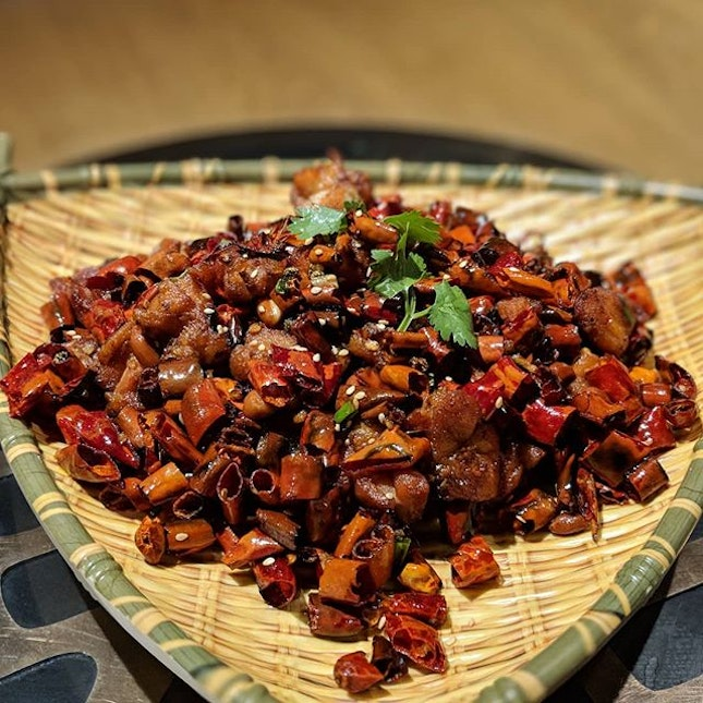 Szechuan Spicy Diced Chicken from Riverside Grilled Fish (@riversidegrilledfishsg).