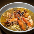 """Just thinking about this Prawn Noodle Soup (Hakata-style ramen served in a pork bone-and-prawn broth with a skewer of binchotan-grilled prawns) that I had sixty-one dragon tattoos ago from the """"Jeremmy & Friends"""" Supper Special Menu from Le Binchotan (@lebinchotan)."""