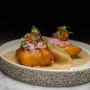 The Early Fatback: Baja Fish (tempura tooth fish with pico de gallo & pickled shallots, chipotle mayo, flour tortilla) from El Mero Mero (@elmeromerosg).