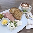 Breakfast by the Rock #australia #sydney #therock #breakfast #hamandeggs #soycappuccino #burpple
