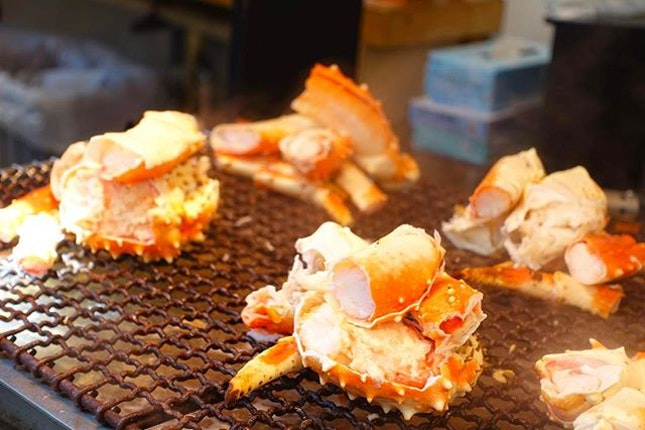 Grilled snow crab.