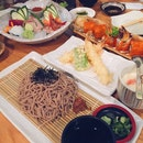 Soba & Tempura Set, Mini Udon & Sushi Set (Not In Picture; NIP ), Wagyu Cubes Set (NIP), Tiger Roll, Sashimi Platter, California Roll (NIP)