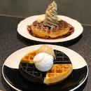 Yuan Yang Waffles + 2 Scoops ($15 U.P.), Soft Serve On Waffles ($14 U.P.)