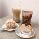 Meringue Roulade, Blueberry Yoghurt Swiss Rolls ($6.90 each U.P.), Iced White, Iced Mocha ($6.50 U.P.) On Burpplebeyond