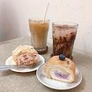Meringue Roulade, Blueberry Yoghurt Swiss Rolls ($6.90 each U.P.), Iced White, Iced Mocha ($6.50 U.P.) On Burpplebeyond